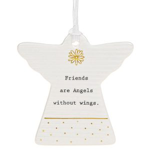 'Friends Are Angels Without Wings' Ceramic Guardian Angel Hanging Plaque - Thoughtful Words