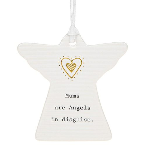 'Mums Are Angels In Disguise' Ceramic Guardian Angel Hanging Plaque - Thoughtful Words