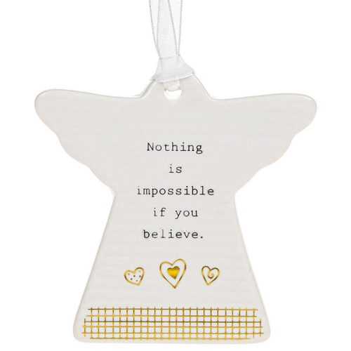'Nothing Is Impossible If You Believe' Ceramic Guardian Angel Hanging Plaque - Thoughtful Words
