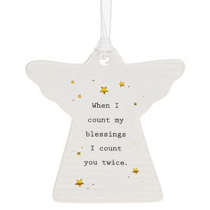 'When I Count My Blessings I Count You Twice' Ceramic Guardian Angel Hanging Plaque - Thoughtful Words