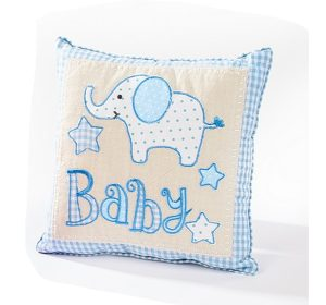 Blue Elephant Baby Boy Cushion - Langs