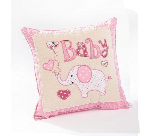 Pink Elephant Baby Girl Cushion - Langs