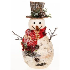 Birch Jolly Fat Snowman With Top Hat Christmas Decoration, 23 x 14 cm - Shudehill