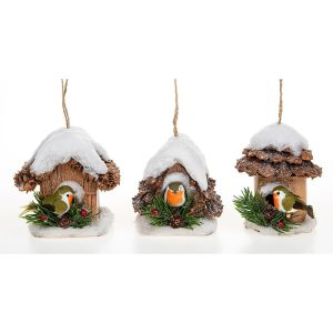 Snowy Pine Christmas Robin Bird House Hanging Decoration, 10 x 9 cm - Shudehill