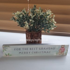 Christmas Bear Standing Block Plaque 'For The Best Grandad Merry Christmas' - Langs