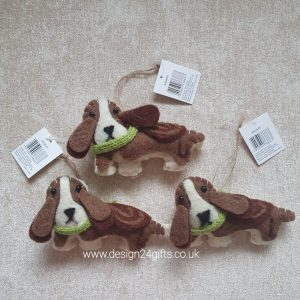 Felt Dog With Green Scarf Hanging Decoration - Langs