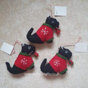 Felt Scottie Dog With Jumper Hanging Decoration - Langs
