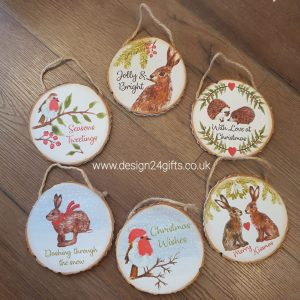 Woodland Hare Hanging Plaque 'Jolly & Bright' - Langs