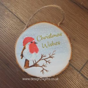 Woodland Robin Hanging Plaque 'Christmas Wishes' - Langs