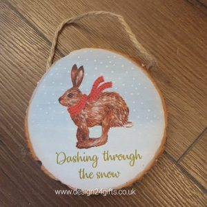 Woodland Hare Hanging Plaque 'Dashing Through The Snow' - Langs