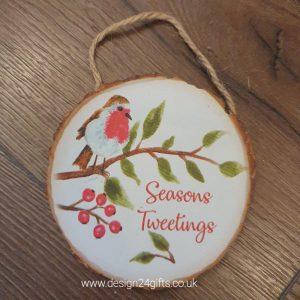 Woodland Robin Hanging Plaque 'Seasons Tweetings' - Langs