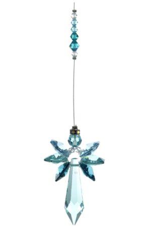 Radiant Guardian Angel - Blue Zircon - Swarovski Crystal Rainbow Maker Hanging Suncatcher