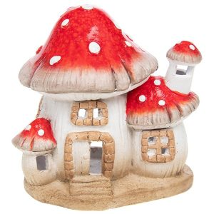 Medium Ceramic Magic Mushroom House Tea Light Holder, 16 x 15 x 11 cm - Shudehill Gifts