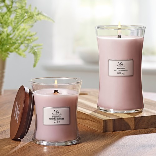 WoodWick Wild Violet Medium Hourglass Candle, 275g