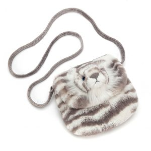 Jellycat Sacha Snow Tiger Shoulder Bag, 17 x 18 x 8 cm