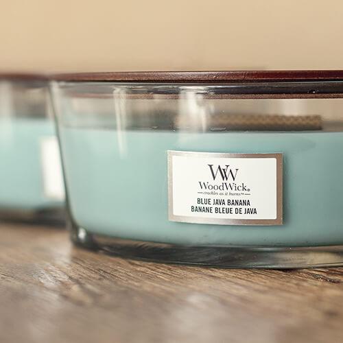 WoodWick HearthWick Blue Java Banana Ellipse Candle, 453g