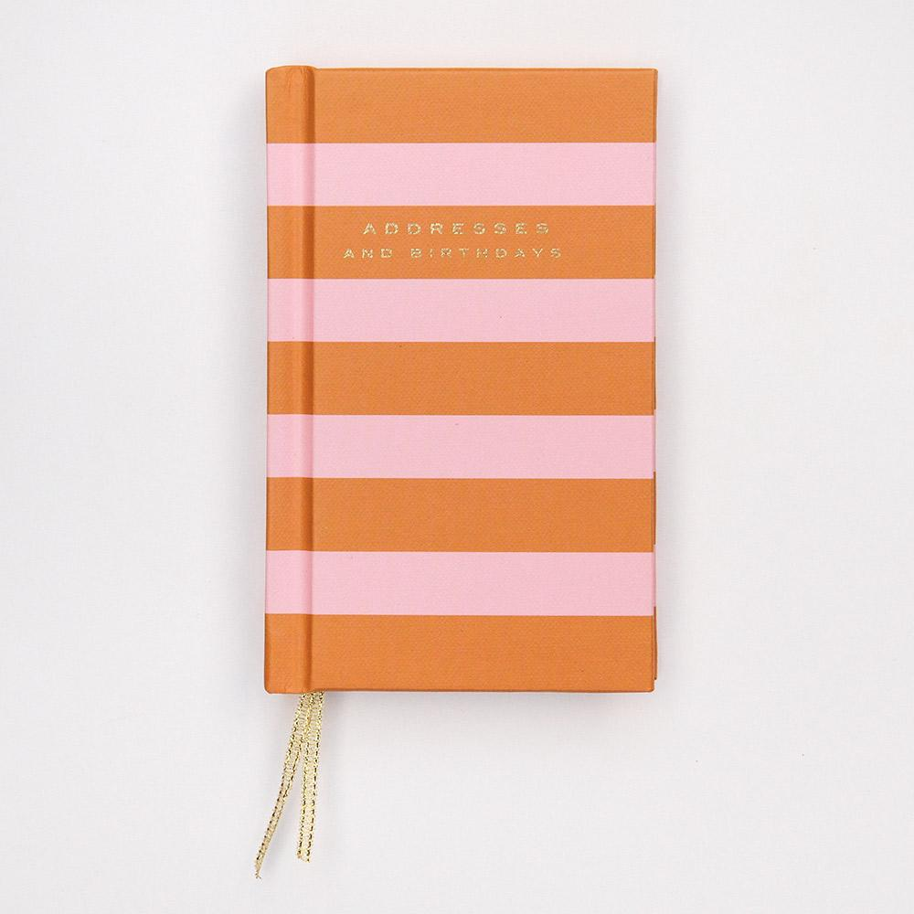 Orange Stripe Small Address Book - Caroline Gardner