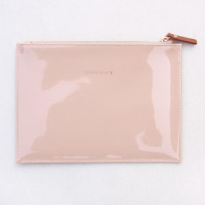 Caroline Gardner 'Follow Your Heart' Pink Nude Patent Pouch Bag