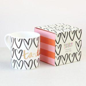 'Tah Dah' Hearts Boxed Bone China Mug - Caroline Gardner