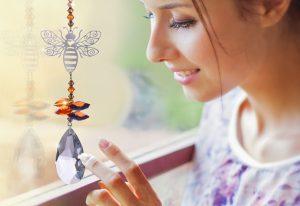 Crystal Fantasy Bee Autumn Gold Hanging Swarovski Suncatcher