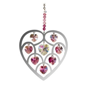 Crystal Radiance - Large Heart of Hearts - Deep Rose Swarovski Crystal Heart Rainbow Maker Sun Catcher