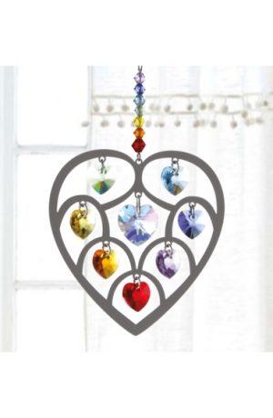 Crystal Radiance - Large Heart of Hearts - Chakra Swarovski Crystal Heart Rainbow Maker Sun Catcher