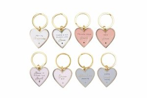 'Adventure Awaits' Blush Enamel Heart Keyring
