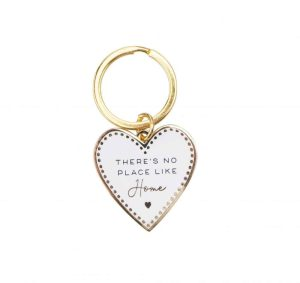 'There's No Place Like Home' Blush Enamel Heart Keyring