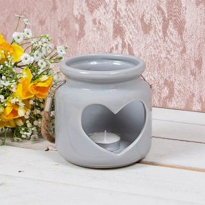 Desire Ceramic Grey Heart Candle Lantern