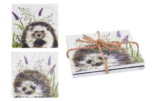 Woodland Hedgehog Set of 2 Wooden Coasters - Langs