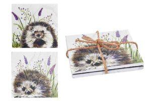 Woodland Hedgehog Set of 2 Wooden Coasters - Langs