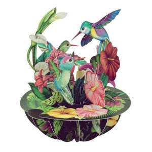 Santoro Hummingbirds Pirouettes 3D Pop-Up Card - Greetings and Birthday Card