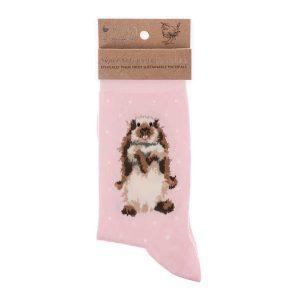 'Earisistible' Pink Rabbit Socks - Wrendale Designs