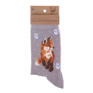 'Born to be Wild' Grey Fox Socks - Wrendale Designs