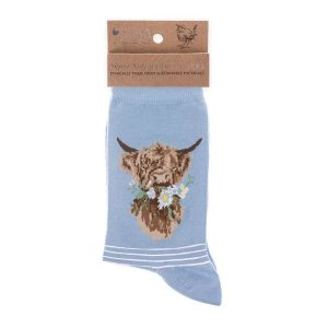 'Daisy Coo' Blue Highland Cow Socks - Wrendale Designs
