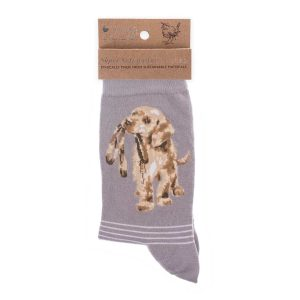 'Hopeful' Grey Dog Socks - Wrendale Designs