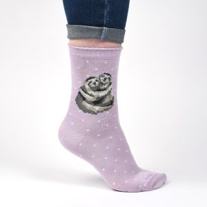 'Big Hugs' Purple Sloth Socks - Wrendale Designs