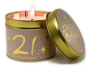 Lily-Flame Happy Birthday 21st Scented Candle Tin